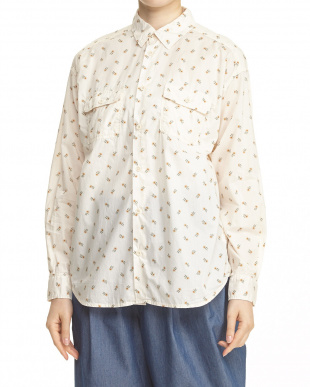 OFF WHITE  小花柄ワイドワークシャツシャツ見る