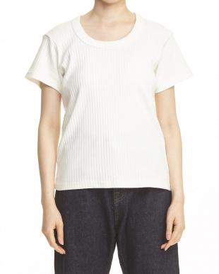 WHITE  リブUネックTシャツ見る