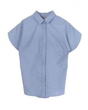 ブルー  フレアスリーブシャツ見る
