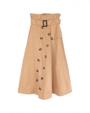 ベージュ  トレンチ風フレアスカート見る