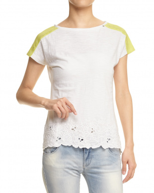 WHITE ZARIKA FLOWER SLUB MIX NET SANGALLO T-SHIRTS見る