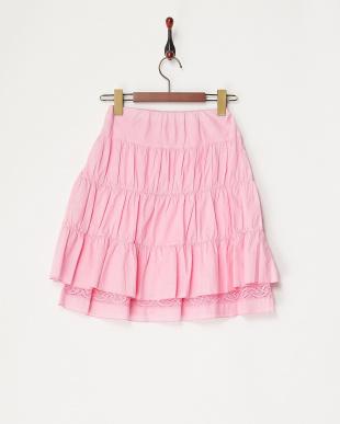 ピンク  ティアードレース切り替えスカート見る