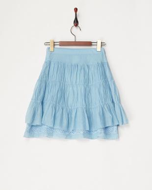 ブルー  ティアードレース切り替えスカート見る