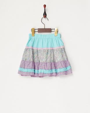 パープル 花柄切り替えスカート見る