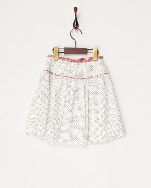シロ フラワーモチーフ付きドットスカート見る