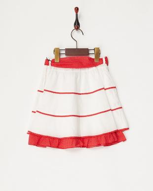 シロ×アカ ドットパイピングスカート見る