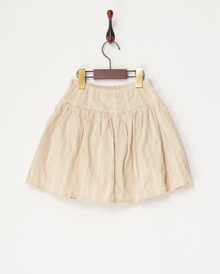 ベージュ ランダムストライプスカート見る