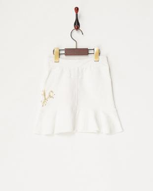 シロ スパンコールロゴスカート見る