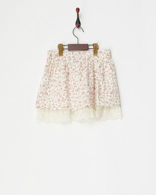 ピンク  裾レースフラワースカート見る