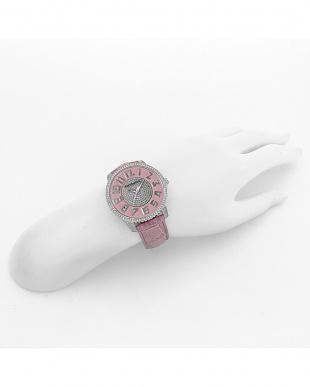ピンク スリム41 腕時計見る
