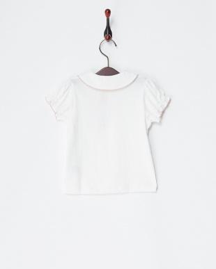 シロ×ピンク  丸衿刺繍半袖ブラウス見る
