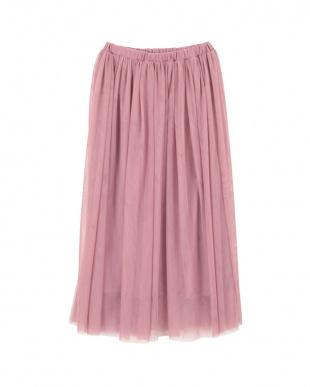 ローズピンク  チュールロングスカート見る