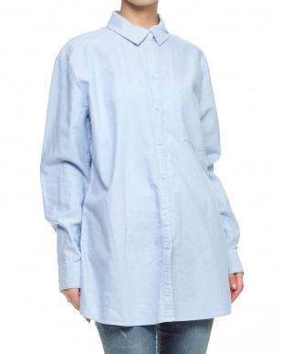 ライトブルー  袖口刺繍コットンシャツ見る