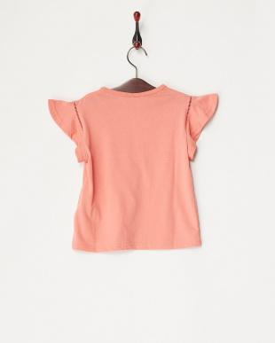 オレンジ  袖フリルフラワー刺繍カットソー(130以下)見る
