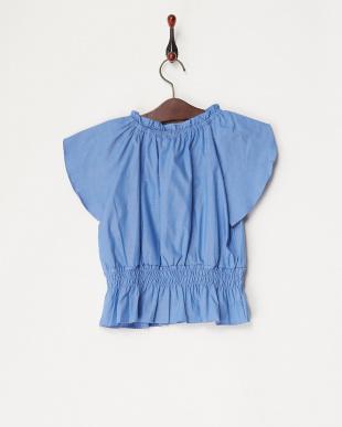 ブルー チューリップ袖刺繍入りブラウス(130以下)見る