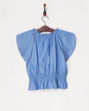 ブルー チューリップ袖刺繍入りブラウス(140以上)見る