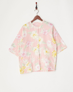 ピンク  アロハ柄婦人七分袖パジャマ見る