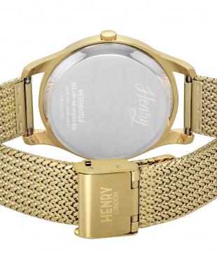 ゴールド WESTMINSTER ステンレスバンド腕時計見る