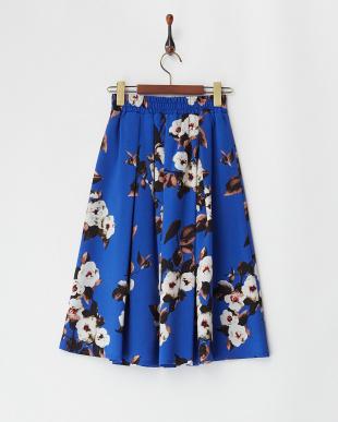 ブルー  フラワープリントスカート見る