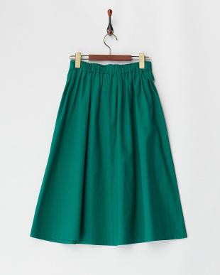 グリーン  綿麻フレアスカート見る