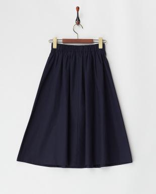 ネイビー  綿麻フレアスカート見る