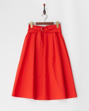 レッド  綿麻フレアスカート見る