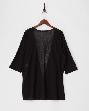 ブラック 透かし編みカーディガン見る