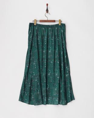 グリーン フラワーMIXプリントスカート見る