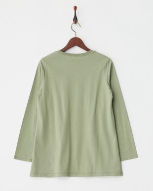 LIGHT KHAKI  リーフプリント長袖Tシャツ|WOMEN見る