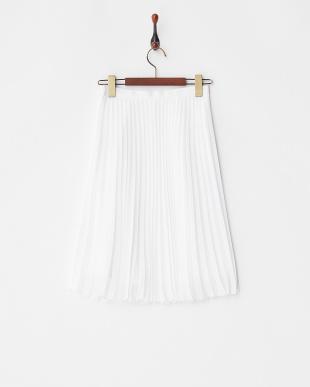 ホワイト  シフォンプリーツスカート見る
