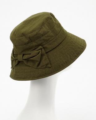 グリーン  リボンモチーフ付き帽子見る