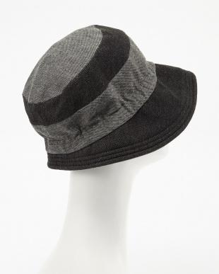 ブラック  ボーダーデザイン帽子見る