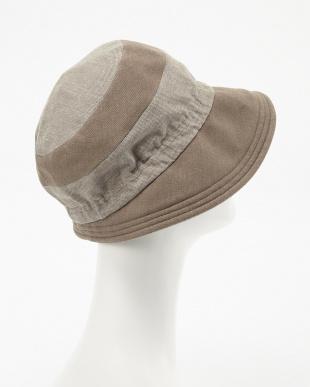ベージュ  ボーダーデザイン帽子見る