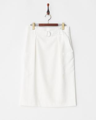 白 リボンベルト付きスカート見る