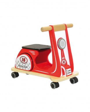 レッド  木製スクーター(組み立て式)見る