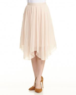 ピンク アシメシフォンプリーツスカート見る
