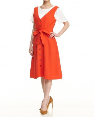 オレンジ マルチウェイジャンパースカート見る