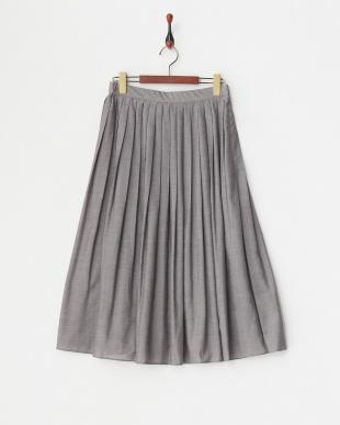 グレー リヨセル混プリーツスカート見る
