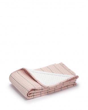 ピンク  麻入り綿敷きパッド 100×205cm見る