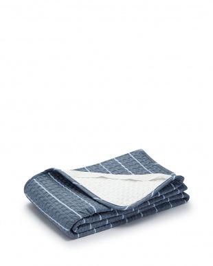 ブルー  麻入り綿敷きパッド 100×205cm見る