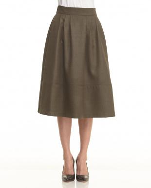 orange  裾切り替えフレアスカート見る