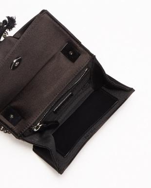 ブラック リボン装飾ツイストテイストデザインミニバッグ見る