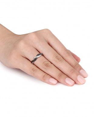 ブラック&ホワイトダイヤモンド(0.1ct) インフィニティ アニヴァーサリーリング見る