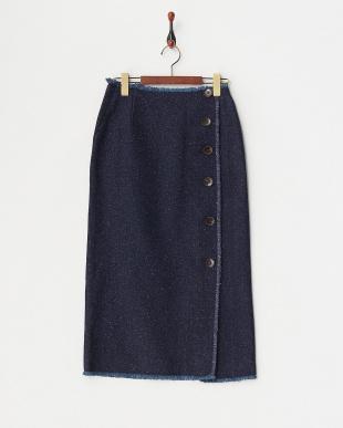 ネイビー デニムツイードラップスカート見る