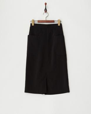 ブラック  ビッグポケット付きスカート見る