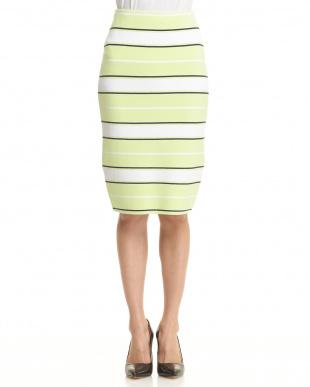 グリーン系 ボーダースカート見る