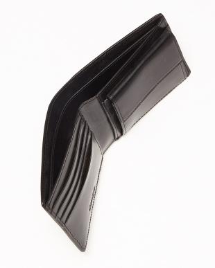 ブラック  ブライドルレザー コインポケット付き二つ折ウォレット見る