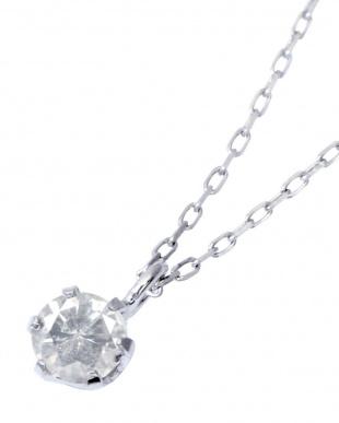 PT900/PT850 Pt 天然ダイヤモンド 0.1ct 6本爪一粒ネックレス見る