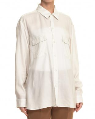 オフホワイト系 オフボディカシュクールシャツ見る