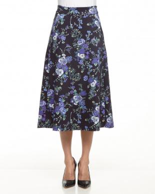 ブルー/柄 ボタニカルフラワープリントトラペーズスカート見る